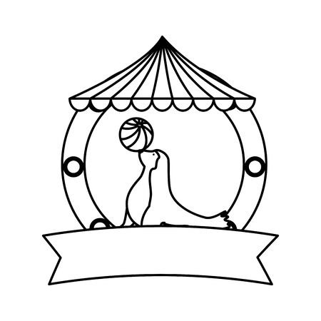 circus seal marine playing with ball in tent vector illustration design