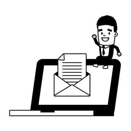 businessman laptop communication send email vector illustration  イラスト・ベクター素材