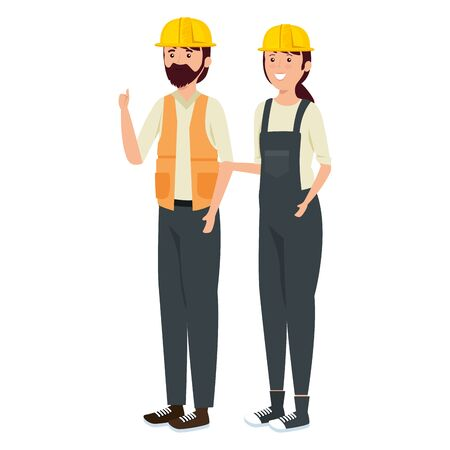 young couple mechanics workers characters vector illustration design Illustration