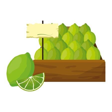 lemon fresh tropical fruits in wooden box vector illustration