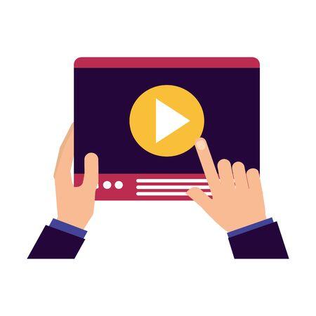 hands holding tablet video player vector illustration