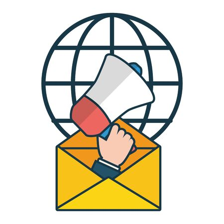 hand with megaphone marketing world send email vector illustration