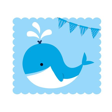 baby shower card with little whale vector illustration design  イラスト・ベクター素材
