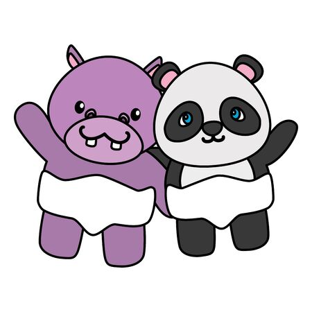 cute little bear panda and hippo characters vector illustration design