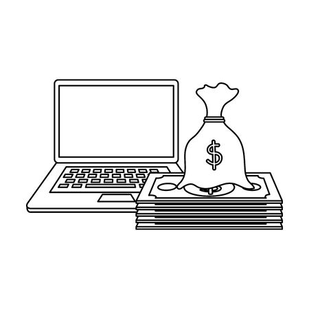 bills money dollars with laptop and sack vector illustration design