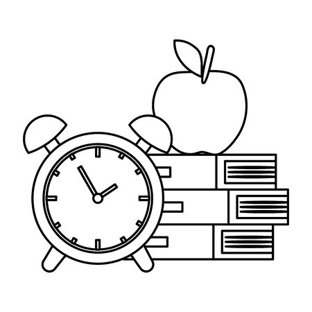 pile textbooks with alarm clock and apple vector illustration design Stock Illustratie