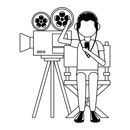 man with headphones projector film and chair vector illustration