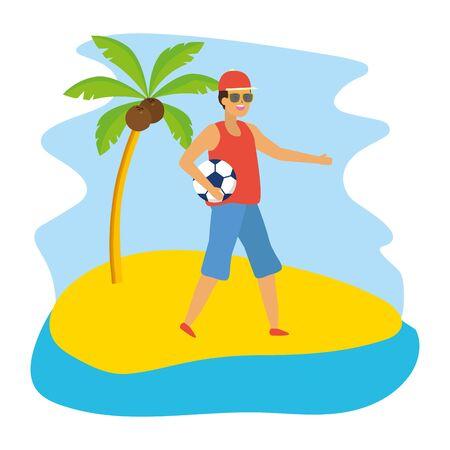 man holding football ball sport vector illustration Illustration