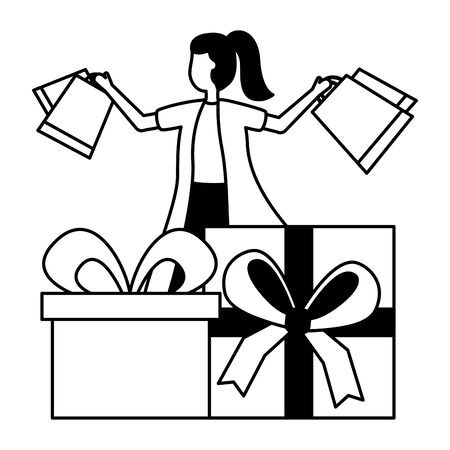 woman with shopping bag and gifts commerce vector illustration 일러스트