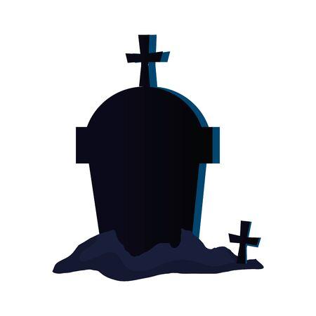 halloween tomb with crosses icon vector illustration design