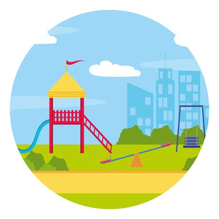 landscape park playground slide swing city vector illustration