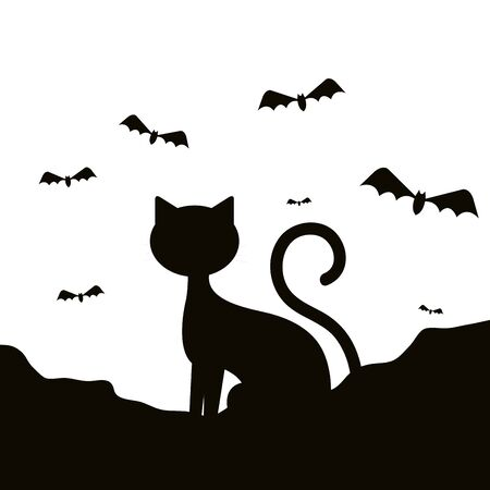 silhouette cat of halloween with bats flying vector illustration design