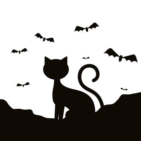 Silueta de gato de Halloween con murciélagos volando, diseño de ilustraciones vectoriales