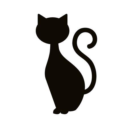 Chat silhouette animal de conception d'illustration vectorielle halloween Vecteurs