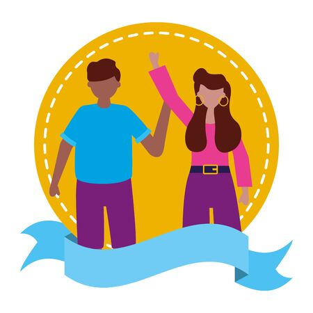 celebrating man and woman sticker vector illustration