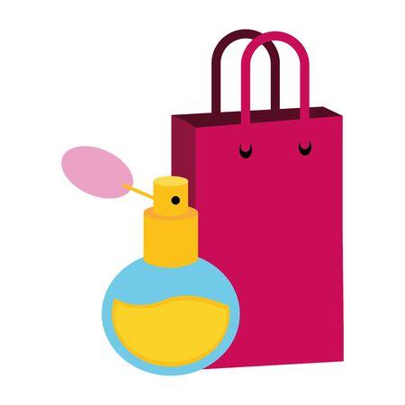 fragrance shopping bag pop art elements vector illustration
