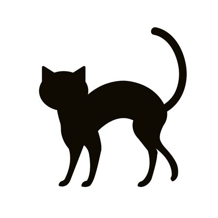 silhouette cat animal of halloween vector illustration design