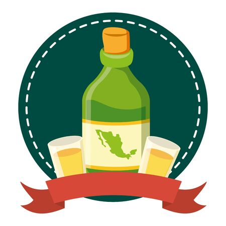 tequila bottle with cups icon vector illustration design