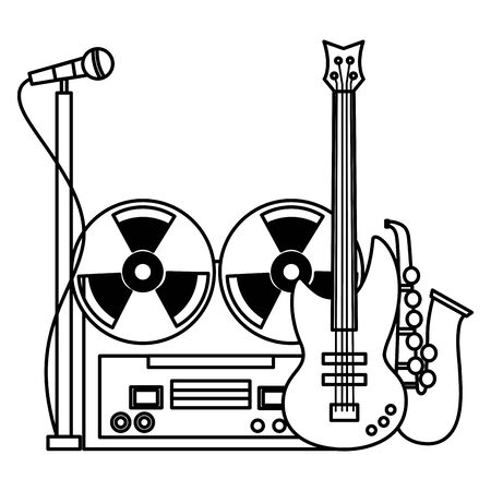 reel tape recorder saxophone microphone electric guitar festival music vector illustration