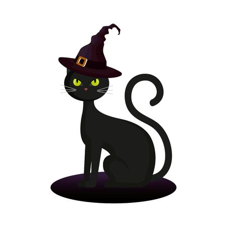 cat halloween with hat witch vector illustration design