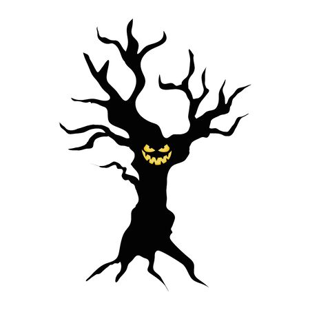 haunted dry tree plant isolated icon vector illustration design