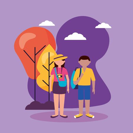 couple travel with camera outdoor vector illustration Ilustração