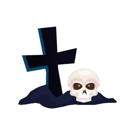skull dead halloween with cross vector illustration design
