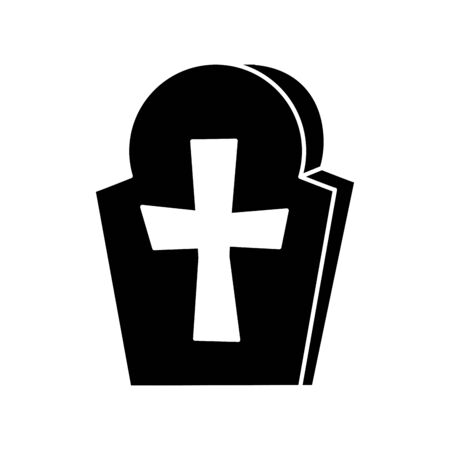 halloween tomb of cemetery icon vector illustration design 矢量图像