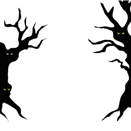 haunted dry trees isolated icon vector illustration design