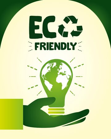 eco friendly hand holding light bulb save nature vector illustration
