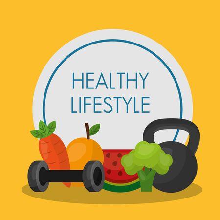 Healthy lifestyle design, Fitness bodybuilding bodycare activity exercise and diet theme Vector illustration Ilustração