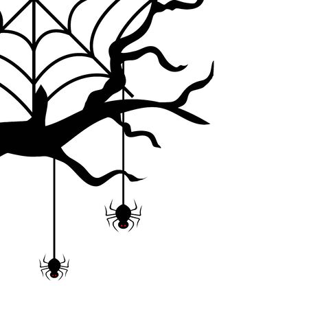 dry tree with spiders isolated icon vector illustration design