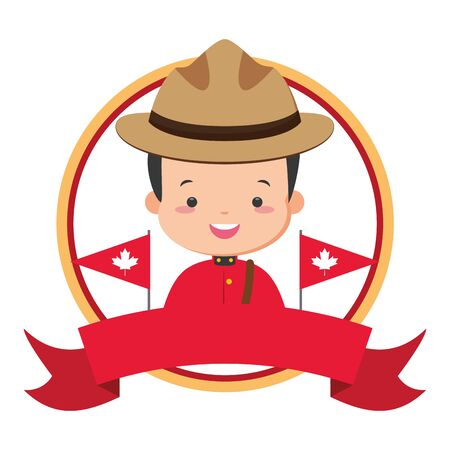 canadian mounted police flags happy canada day vector illustration Ilustrace
