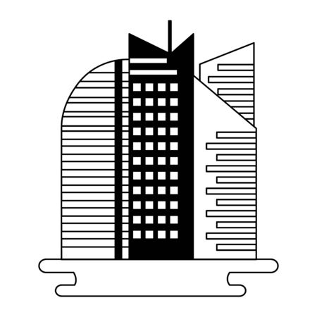 futuristic city building urban on white background vector illustration