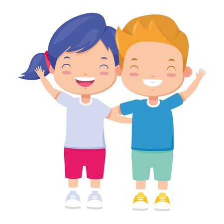 happy boy and girl waving hand vector illustration  イラスト・ベクター素材
