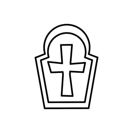 tomba di halloween del cimitero icona illustrazione vettoriale design Vettoriali