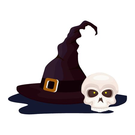 skull of halloween with witch hat vector illustration design
