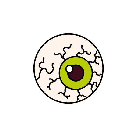 eye scary with veins of halloween vector illustration design