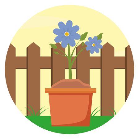 potted flowers wooden fence gardening flat design vector illustration