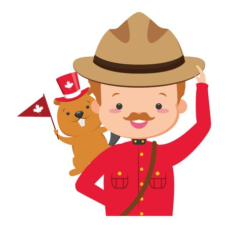 canadian police and beaver flag happy canada day vector illustration