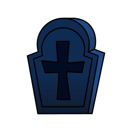 halloween tomb of cemetery icon vector illustration design Illustration