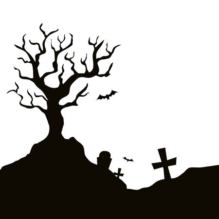 dry tree with cemetery isolated icon vector illustration design Banque d'images - 130017767