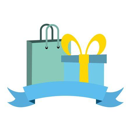 shopping bag and gift box on white background Standard-Bild - 129978124
