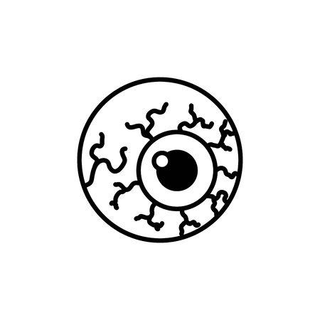occhio spaventoso con vene di halloween illustrazione vettoriale design Vettoriali