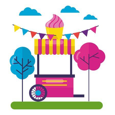 booth food ice cream street park design vector illustration
