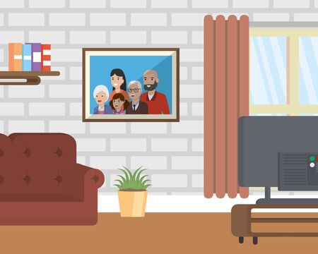 living room with family picture television couch vector illustration Ilustração