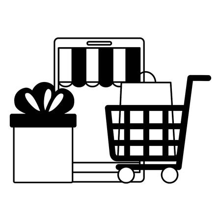 online shopping ecommerce smartphone cart gift and bag vector illustration