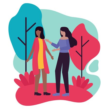 young interracial girls couple friends characters vector illustration design