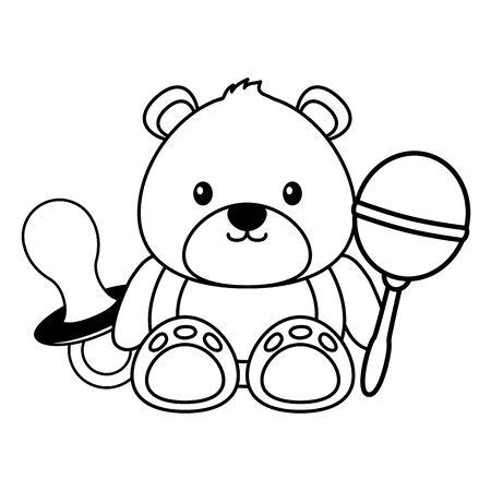 bear with decoration baby shower card vector illustration Illustration