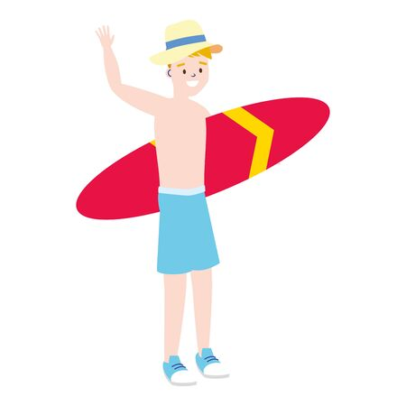 tourist man with surfboard summer time vector illustration